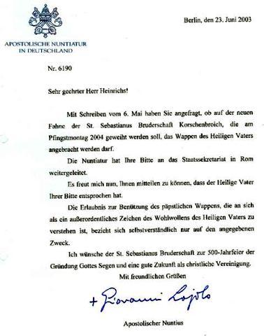 Schreiben des Apostolischen Nuntius mit Genehmigung zur Verwendung des Wappens des Hl. Vaters