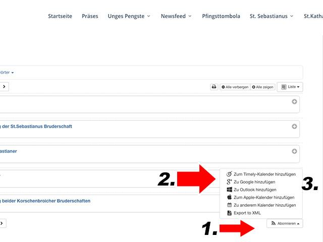 Kalender Funktionen auf unges-pengste.de